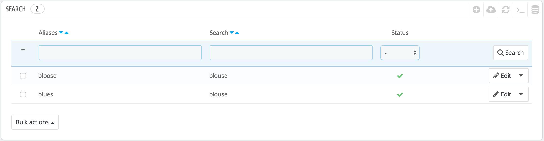 gestione alias ricerca prestashop