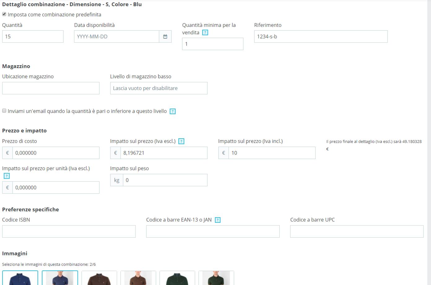 prestashop come personalizzare le combinazioni di un prodotto